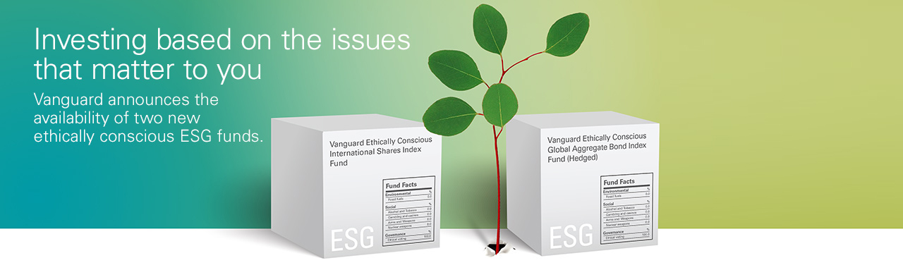Investing based on the issues that matter to you - Vanguard announces the availability of two new ethically conscious ESG funds.