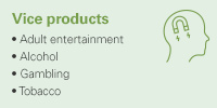 Vice products: Adult entertainment, Alcohol, Gambling, Tobacco