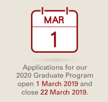 Applications for our 2020 Graduate Program open 1 March 2019 and close 20 March 2019.