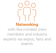 Networking - with like-minded crew members and industry experts via expos, fairs and events