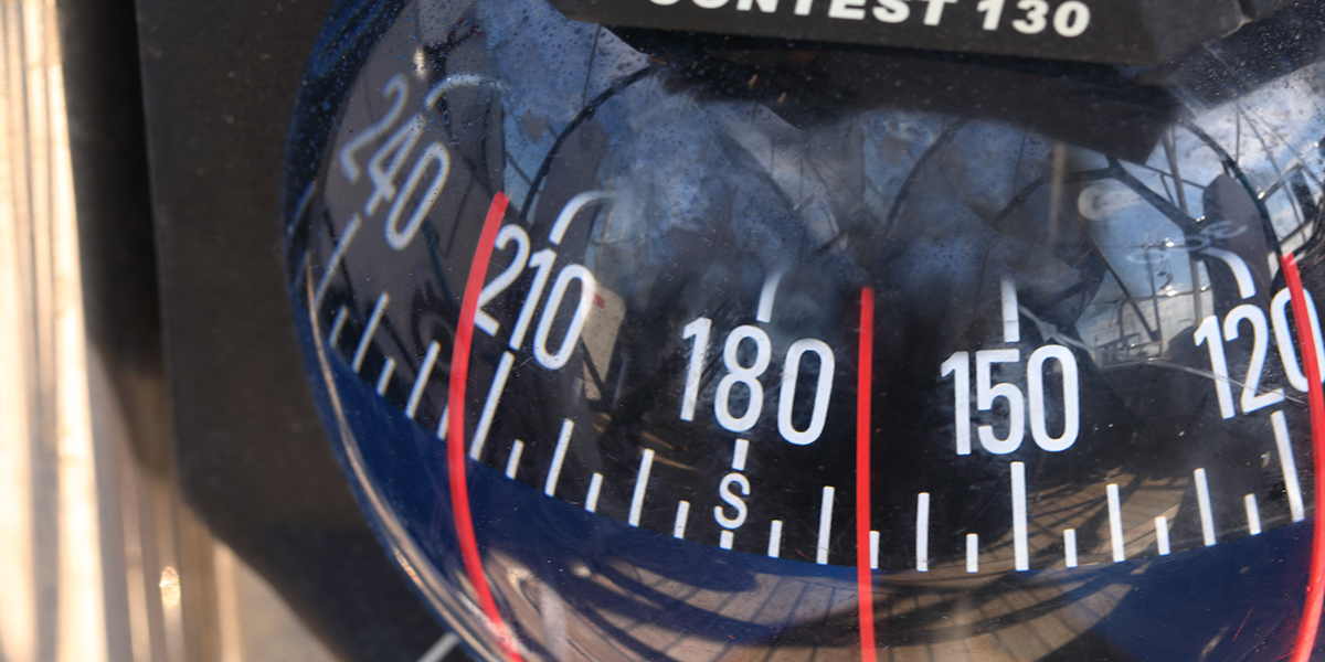 Compass with numbers magnified