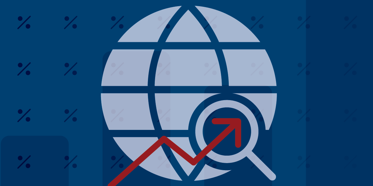 Vector image of a globe with a magnify glass