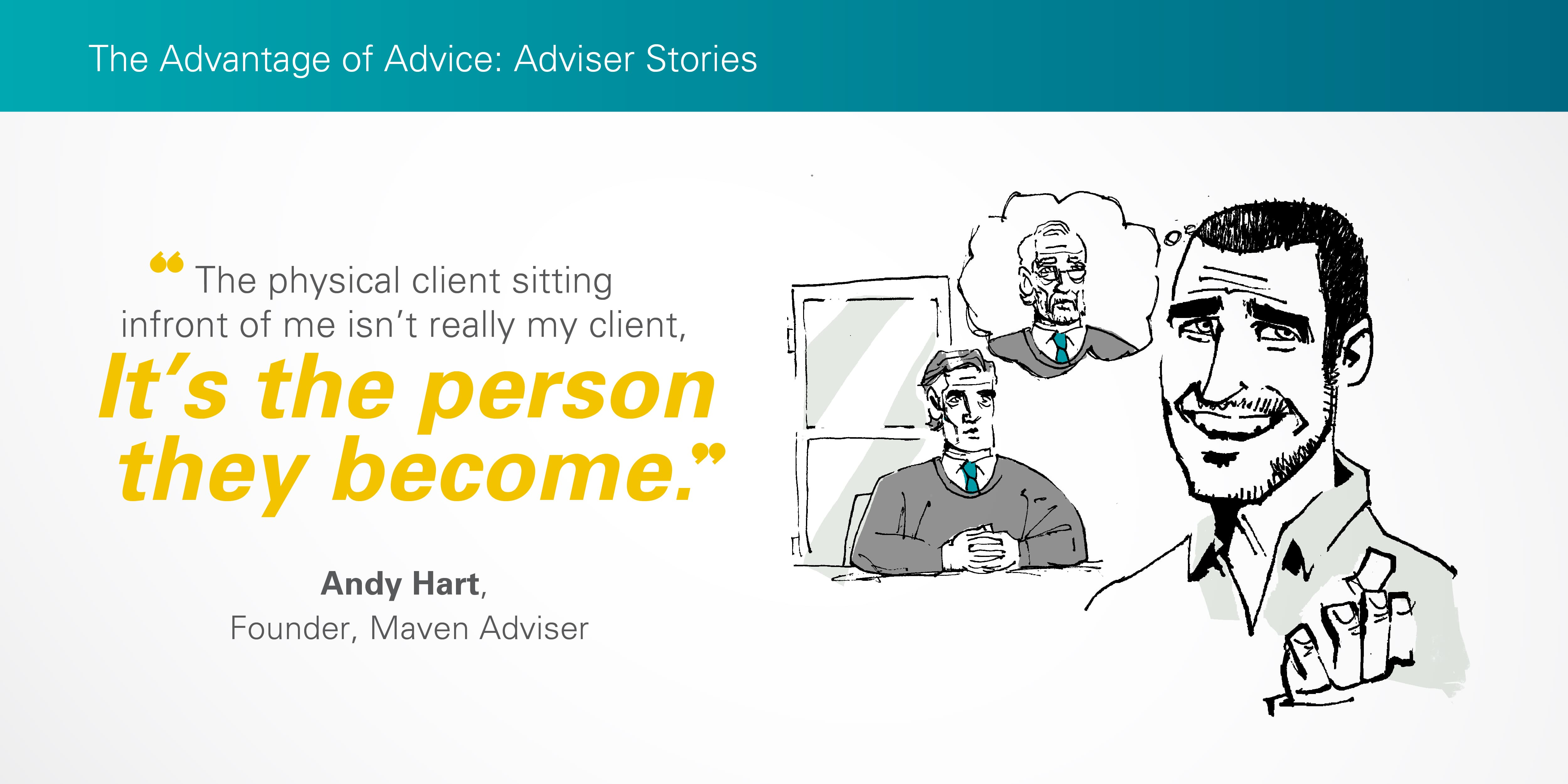 Illustration of Andy Hart thinking of client future