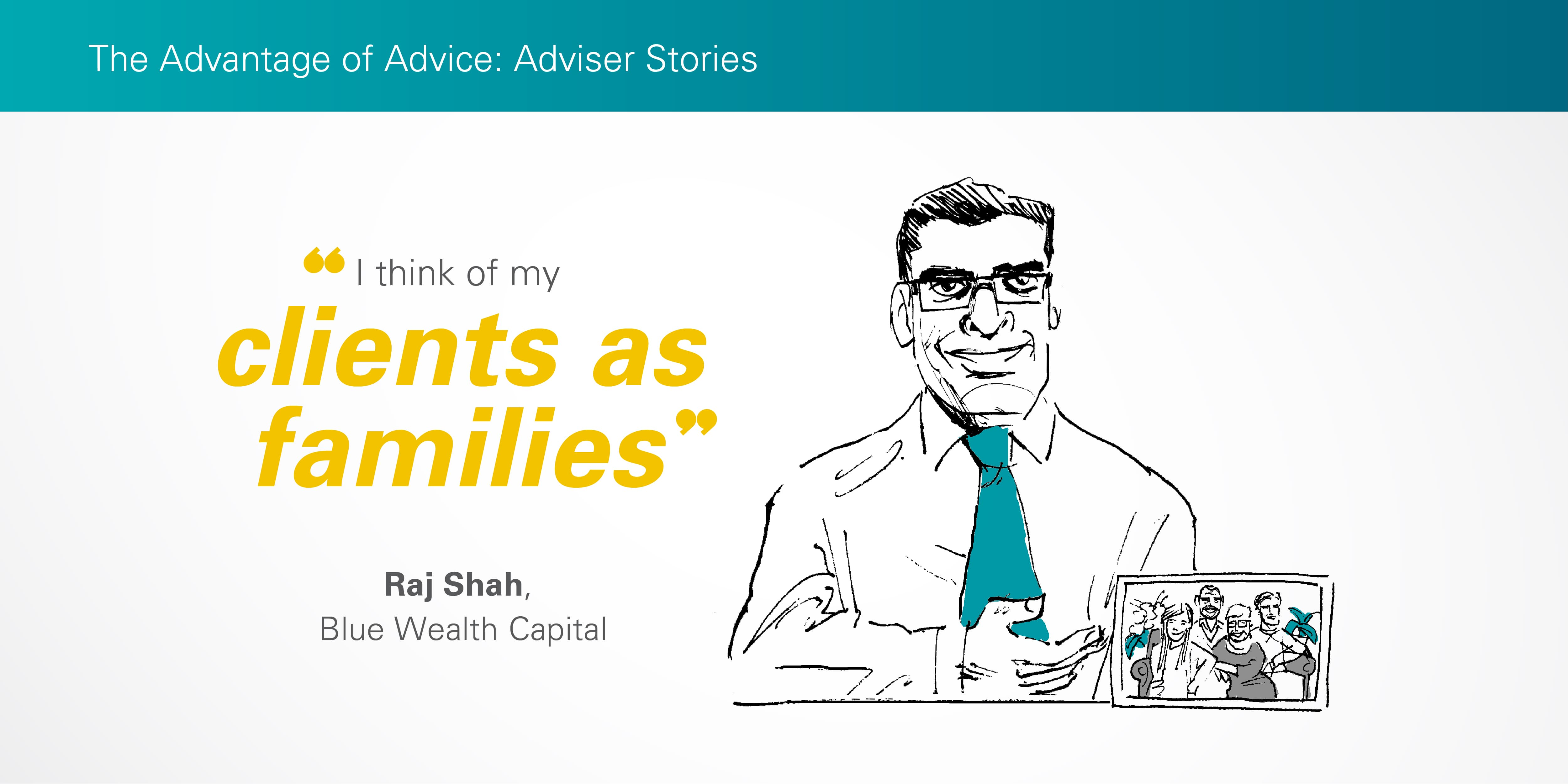 Illustration of Raj Shah showing a family picture