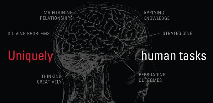 Uniquely human tasks - Brain activity image