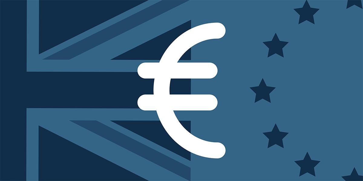 Euro on blue background