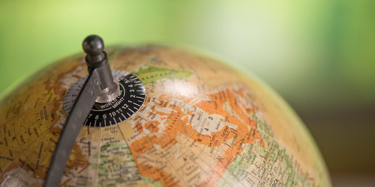 Close up of a globe